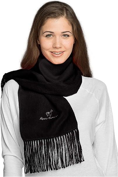 Luxury black Alpaca Wool Scarf  Unisex Gift