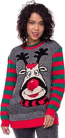 hot sale online 3c18f 33d19 Loomiloo Weihnachten Christmas Sweater Pullover Pulli Damen  Weihnachtspullover Xmas Einhorn REH Bambi Rudolph Rentier rote Puschelnase