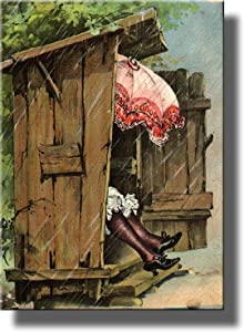 A Woman with Umbrella in Ladies Outhouse Toilet Bathroom Picture Made on Stretched Canvas, Wall Art Decor Ready to Hang!.
