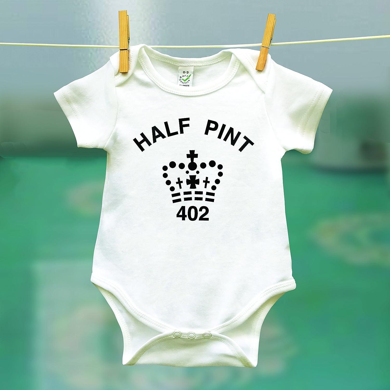 Matching Dad Pint T Shirt and Baby Half Pint Onesie White