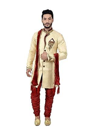 c5f2b863d3f Amazon.com  Cream Zari Brocade Silk Traditional Indian Wedding Indo-Western  Sherwani for Men  Clothing