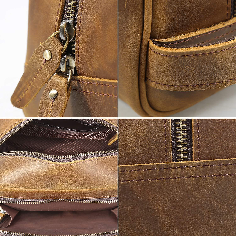Polare Vintage Full Grain Leather Handmade Travel Toiletry Bag for Men - Dopp Kit - Shaving Kit by POLARE ORIGINAL (Image #7)