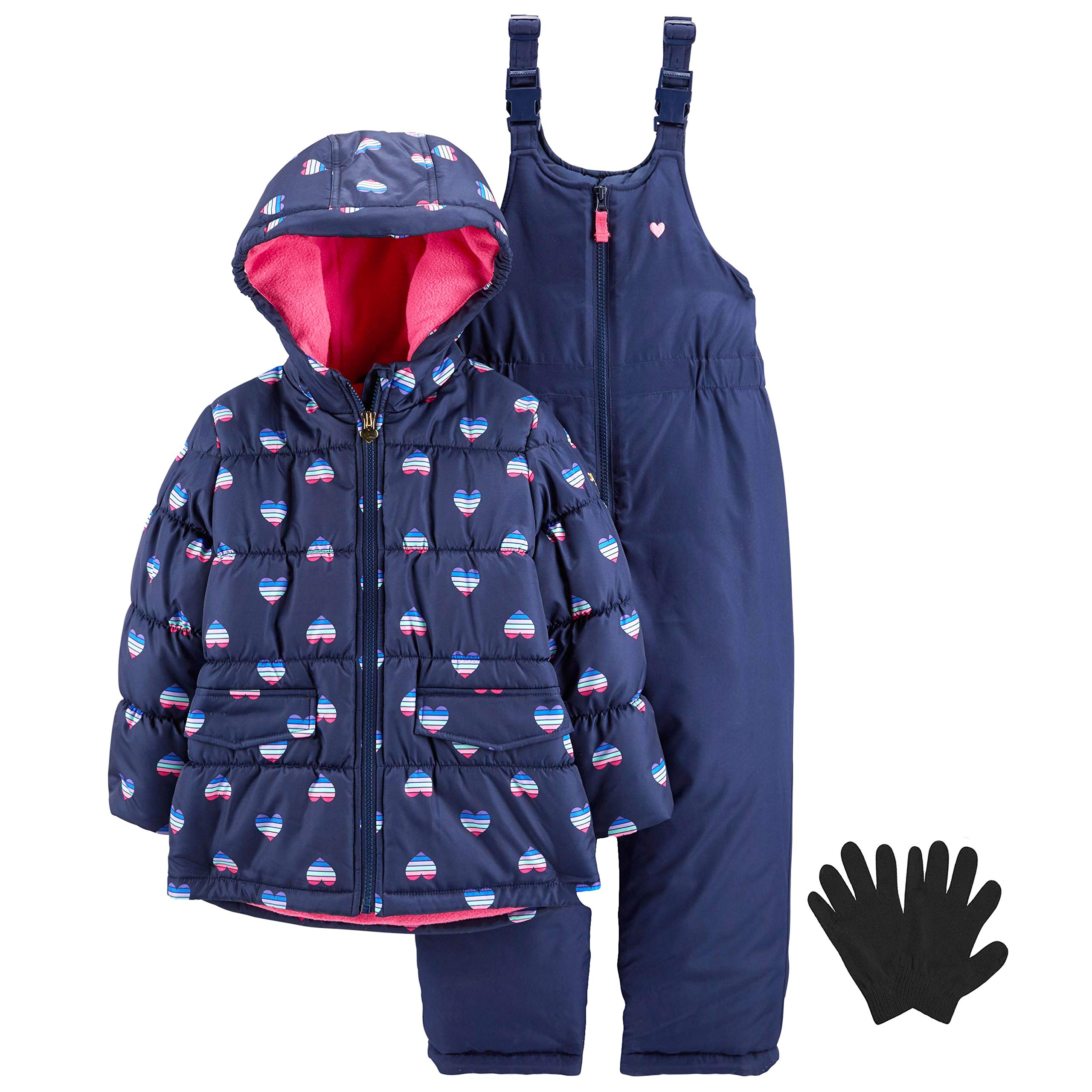 OshKosh Girls Winter Snowsuit Coat, Snow Bib Overalls, and Gloves Navy Pink 4 by OshKosh B'Gosh