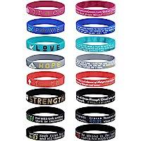 Finrezio 16Pcs Christian Inspirational Bible Bracelets Faith Hope Love Power Grace Strength Silicone Rubber Wristbands…
