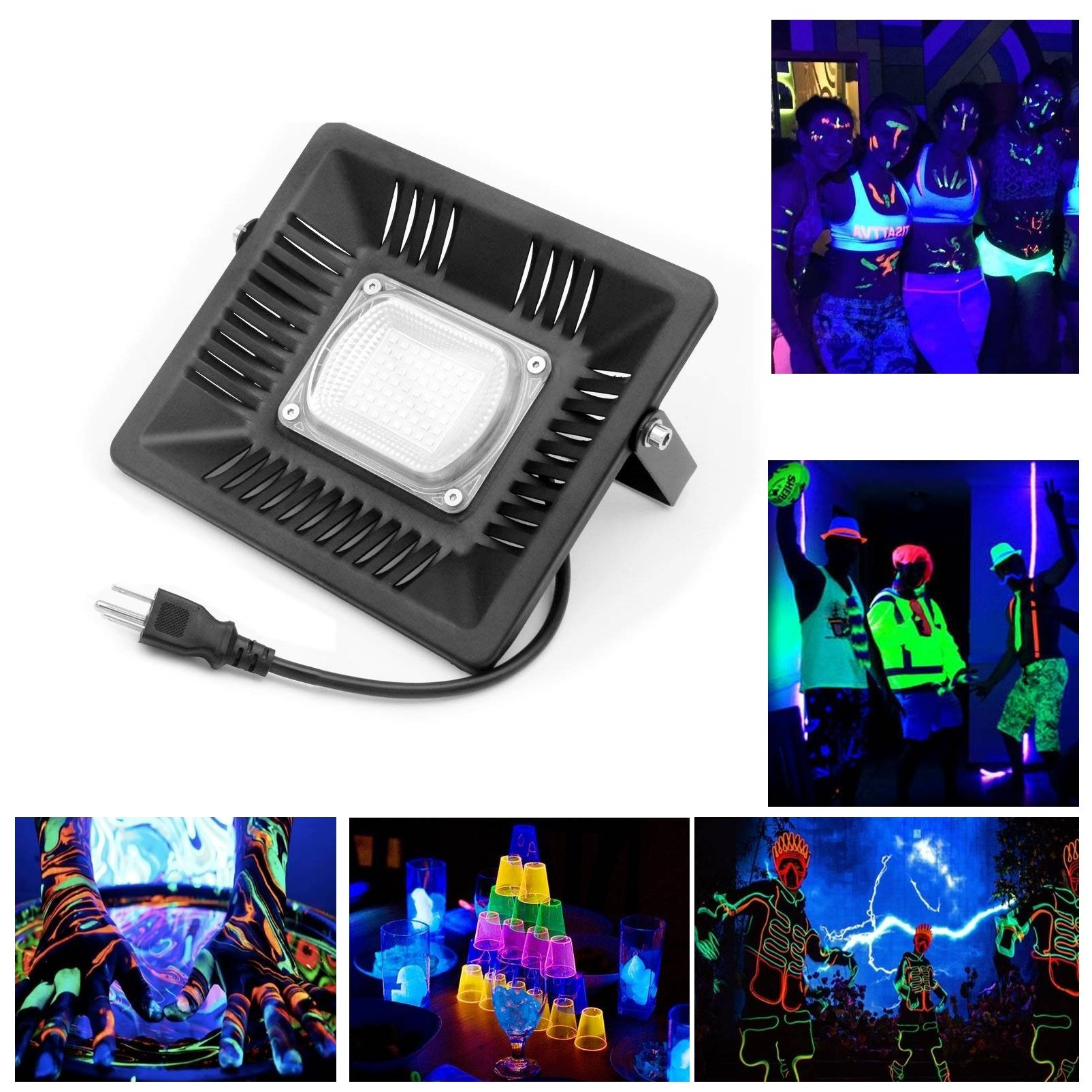 LumenBasic UV Black Light 15W LED Ultra Violet Flood Light Stand Blacklight 85V-265V AC IP66 Waterproof for Parties, Glue, Blacklight, Fishing, Aquarium