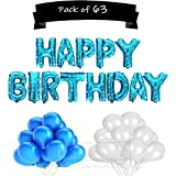 ToyNext™ Happy Birthday Letters Foil Balloon Set Decoration Combo with 50 Metallic Balloon ,Birthday Balloons for Decoration - Blue