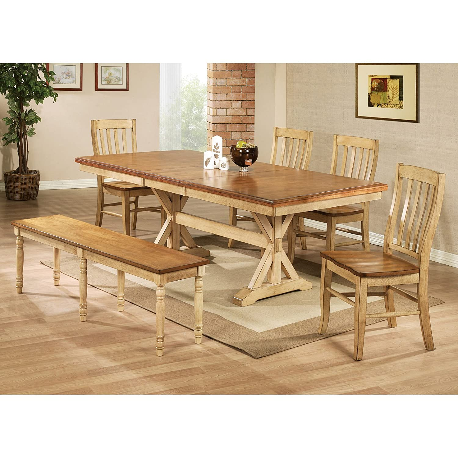 Attractive Amazon.com   Winners Only Quails Run 84 In. Trestle Dining Table With 18  In. Butterfly Leaf   Tables