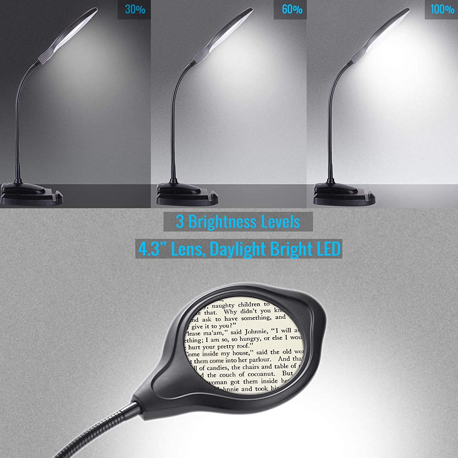OKOA Dimmable Magnifying Desk Lamp LED Light Lighted Magnifier with Stand /& Utility Clamp Magnifying Glass with Light for Reading Close Work Workbench Task Crafts Hobbies Sewing Repair OKOA Depot