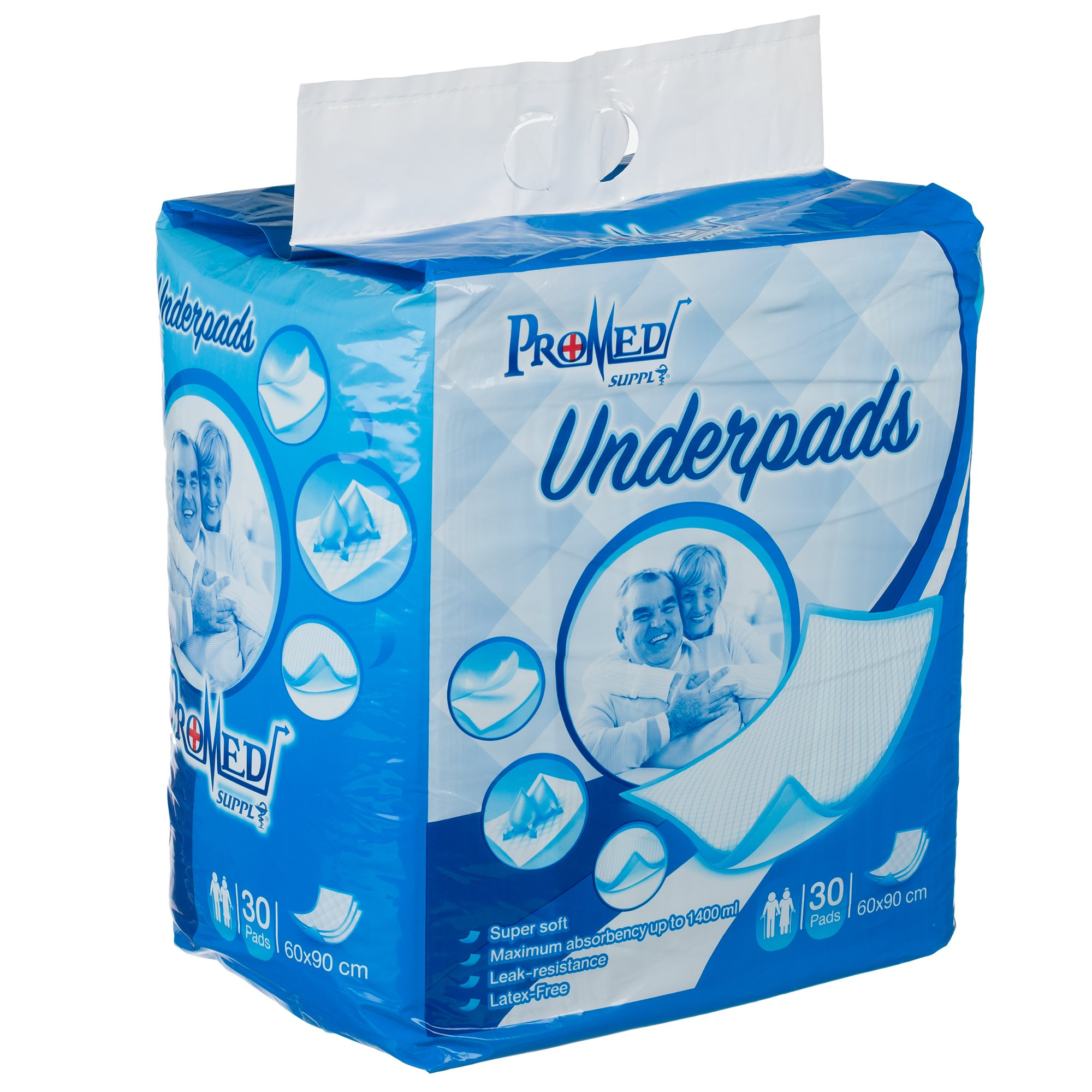 """Promed Supply Disposable Underpads Chux Premium Heavy Duty Water Proof Incontinence Pads Blue 80 gram, 8 gram SAP, Approx 23""""x36"""" 30 count"""