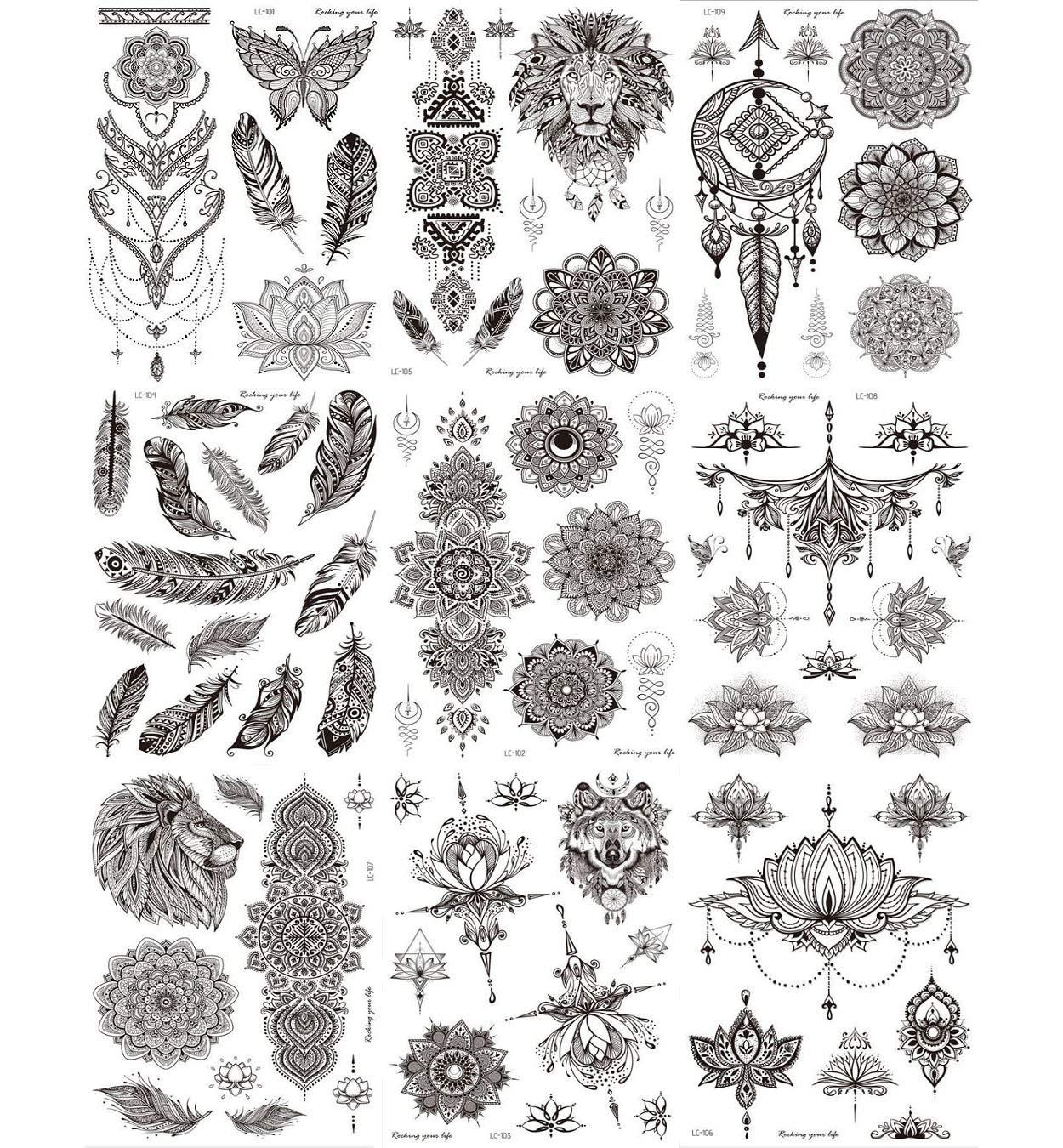 Temporary Tattoos Stickers, Ztent 9 Sheets Mandala Flower Body Art Stickers Waterproof Henna Black Art Tattoo Stickers For Adult Women Girls Body Art Arm