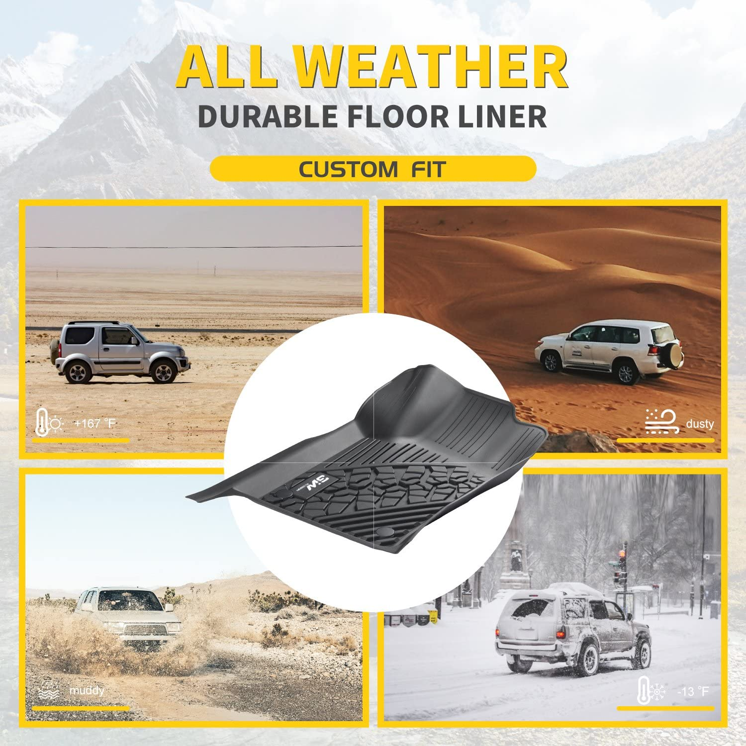 All Weather Heavy Duty Floor Mat Set Autotech Park Custom Fit Car Floor Mat Compatible with 2009-2014 Nissan Murano SUV