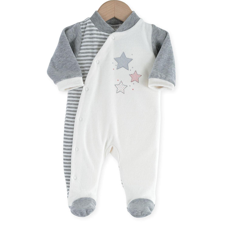 Kinousses 8102096pijama para bebé, de terciopelo, diseño de estrellas, color crudo beige gris Talla:0 meses (prematuro) 810 2096