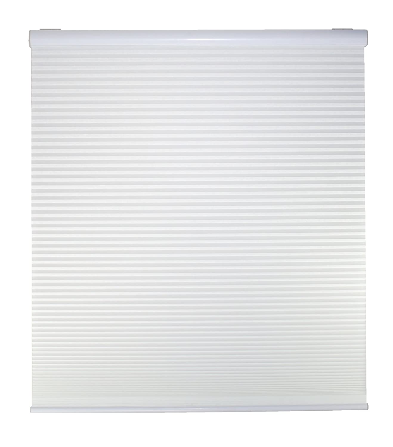 White DEZ Furnishings QCWT254640 Cordless Light Filtering Cellular Shade 25.5W x 64H Inches