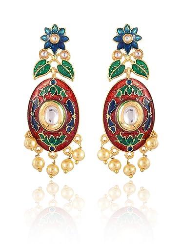 0c3e57f4ca Buy Sinjara Fashion Jewellery Rajasthani Kundan Meenakari Dangle & Drop  Earrings For Women (61e) Online at Low Prices in India | Amazon Jewellery  Store ...