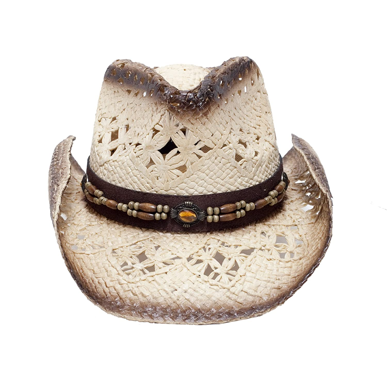Beach Cowgirl Straw Cowboy Hat W// Vegan Leather Band /& Beads, Shapeable Brim