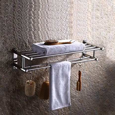 Amazon.com: Bosszi 4 Hooks Bathroom Towel Shelf Wall mounted Towel ...