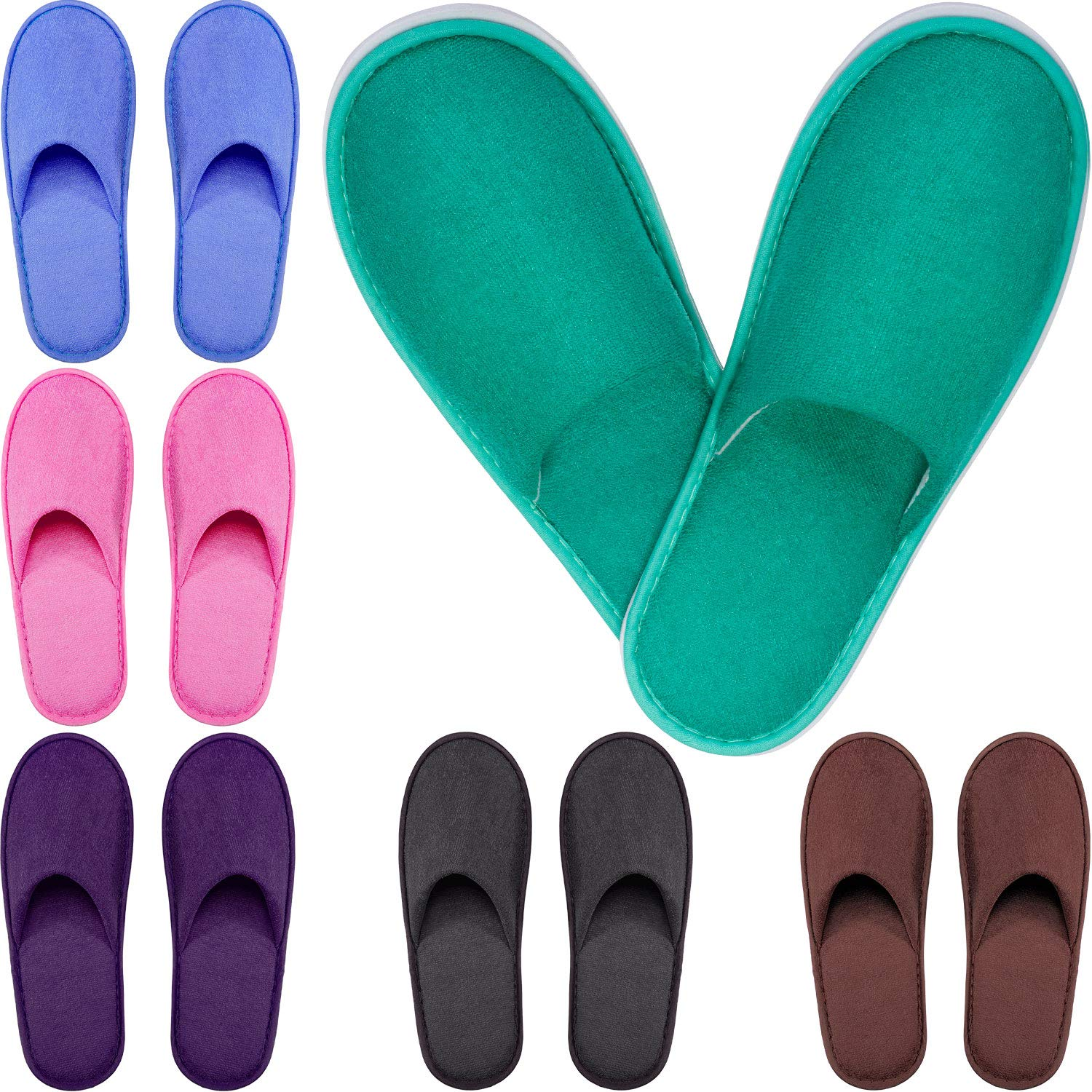 Tatuo Spa Slippers Cotton Thick Guests Slipper House Indoor Slippers Closed Toe Hotel Spa Slippers for Men and Women, Non-Slip Slippers for Hotel, Home, Guest Use, 6 Pairs by Tatuo