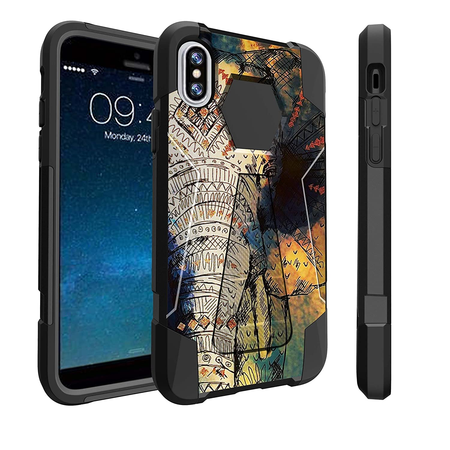 Amazon.com: Untouchble Case for Apple iPhone X (2017), iPhone Xs (2018) Case [Travelers] Dual Layer Hybrid Kickstand Case Cover - Elephant Art: Cell Phones ...