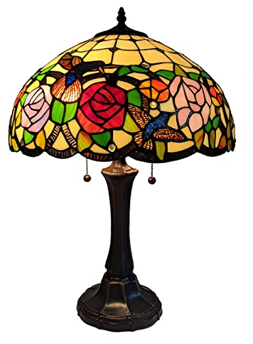 Tiffany Style Table Nightstand Banker Lamp 22 Tall Stained Glass Red Green Yellow Floral Hummingbird Antique Vintage Light Decor Living Room Bedroom Desk Handmade Gift AM101TL16B Amora Lighting