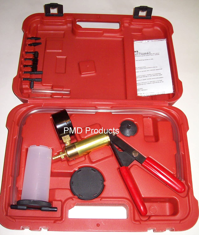 PMD Products Brake Fluid Bleeder Handy Hand Held Vacuum Vac Brass Pump Tester Kit + Adapters