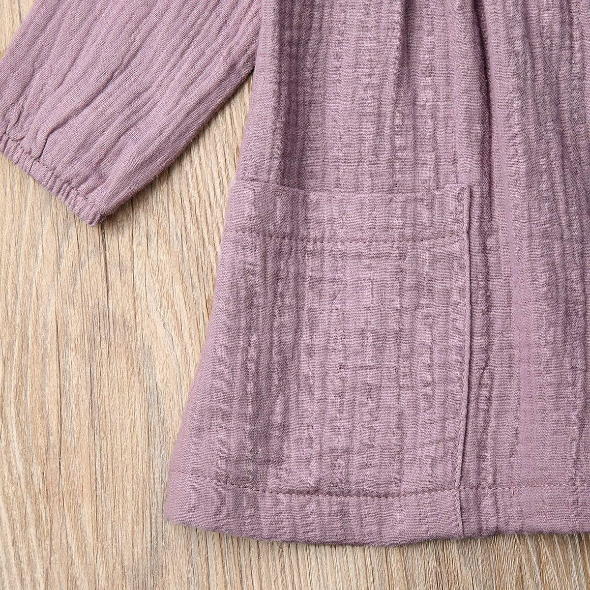 Toddler Baby Girls Long Sleeve Cotton Linen Button Dress Shirt Top with Pockets