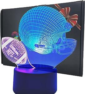 New American Football Helmet LED Night Light Birthday Gift 3D Illusion USB Lamp Festival Present for Sport Fan Player Teenager Men Boy Kid Bedroom Decoration Room Decor