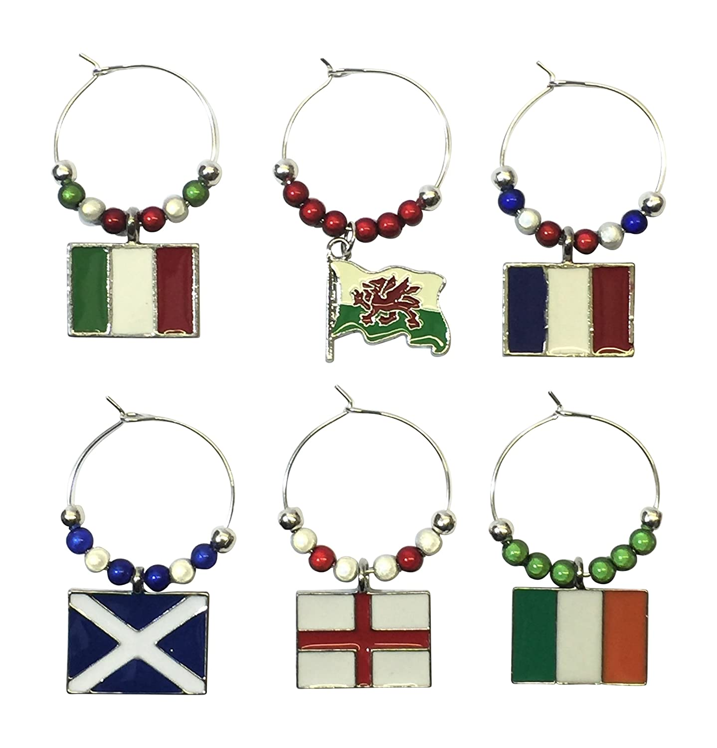 Libbys Market Place Set of 6 Italy Wine Glass Charms with Organza Gift Bag Handmade