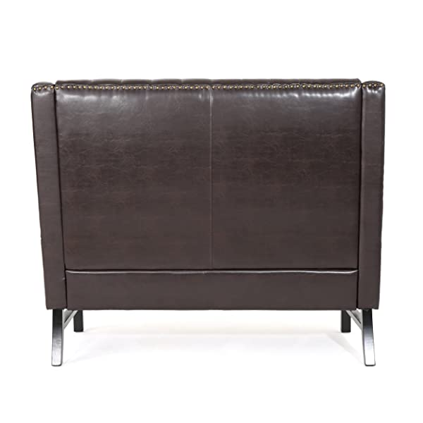Great Deal Furniture Estelle High Back Tufted Winged Brown Leather Loveseat