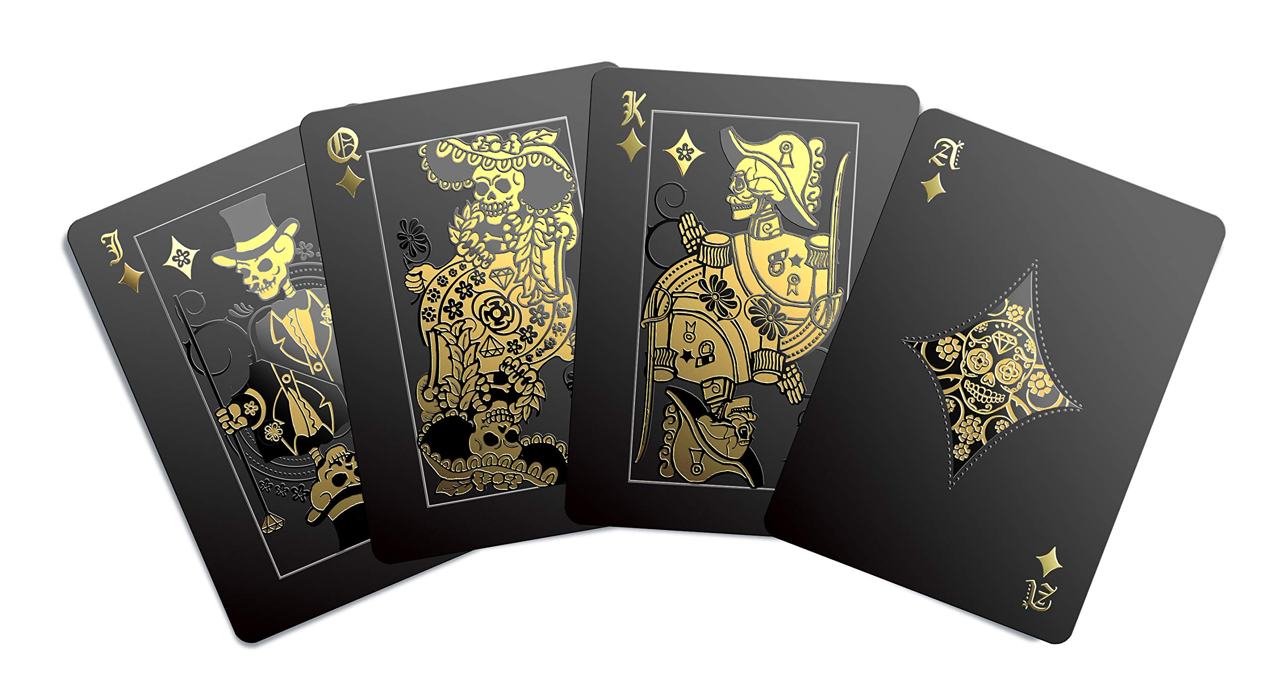 Gent Supply Black Waterproof Playing Cards - Day of The Dead, Gold Silver & Black Edition by Gent Supply
