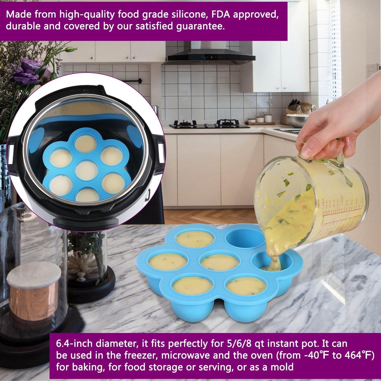 Accesorios para Olla de Presión Instant Pot - Bandejas Apilables de Acero Inoxidable para Cocinar Alimentos al Vapor, Cesta Vaporera para Vegetales, Moldes ...