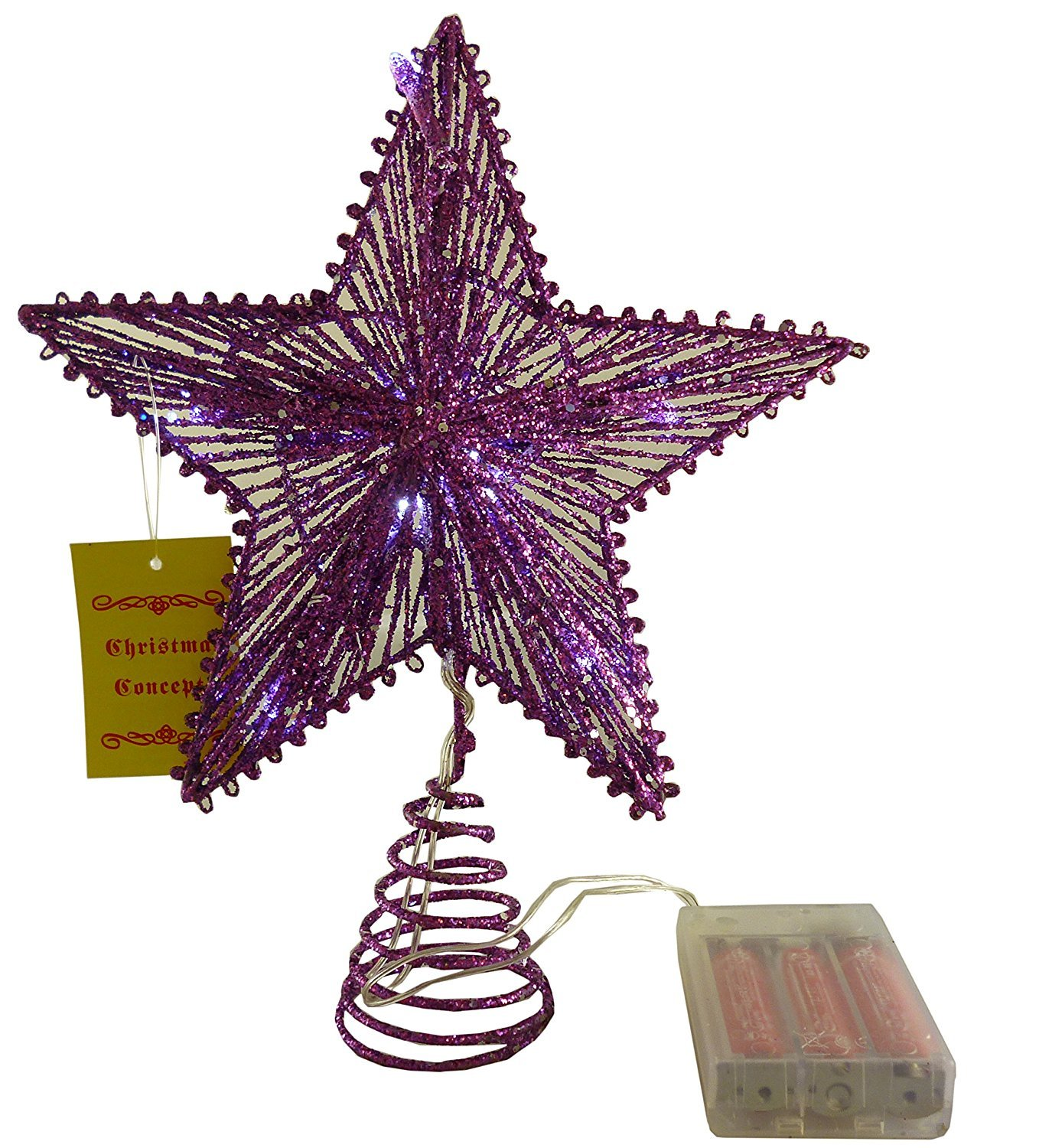 10'' Purple Springy Star With White Led Lights - Christmas Tree Top Star / Christmas Decoration