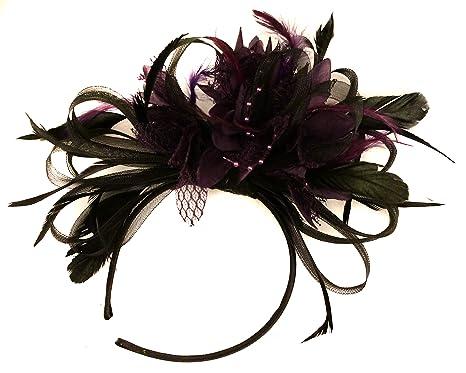 Black and Purple Net Hoop Feather Hair Fascinator Headband Wedding ... 5d97432c9ac