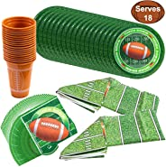 JOYIN Football Game Day Party Supplies Pack-18 Football Themed Cups, 18 Plates (9 inches), 36 Napkins and 2 Tablecloths Footb