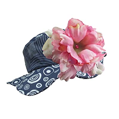 Jamie Rae Hats- Navy Blue Sun Hat with Candy Pink Large Peony