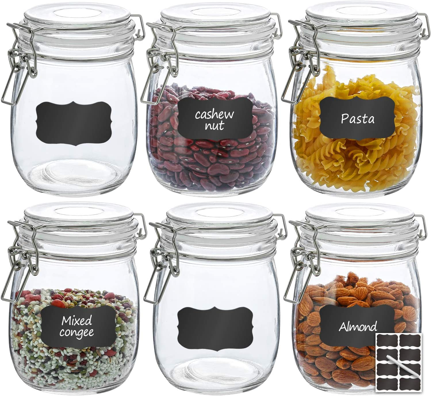 Airtight Glass Jars, RAZCC 6 PACK 27 OZ Round Glass Canister Set with Wide Mouth Leak-Proof Fit for Food Storage, Canning, Cereal Container