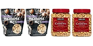 Kirkland Signature Macadamia Nut and Cashews Bundle - Includes Kirkland Signature Two Dry Roasted Macadamia Nuts with Sea Salt (1.5 LB Each) and Two Whole Fancy Cashews (2.5 LB Each)