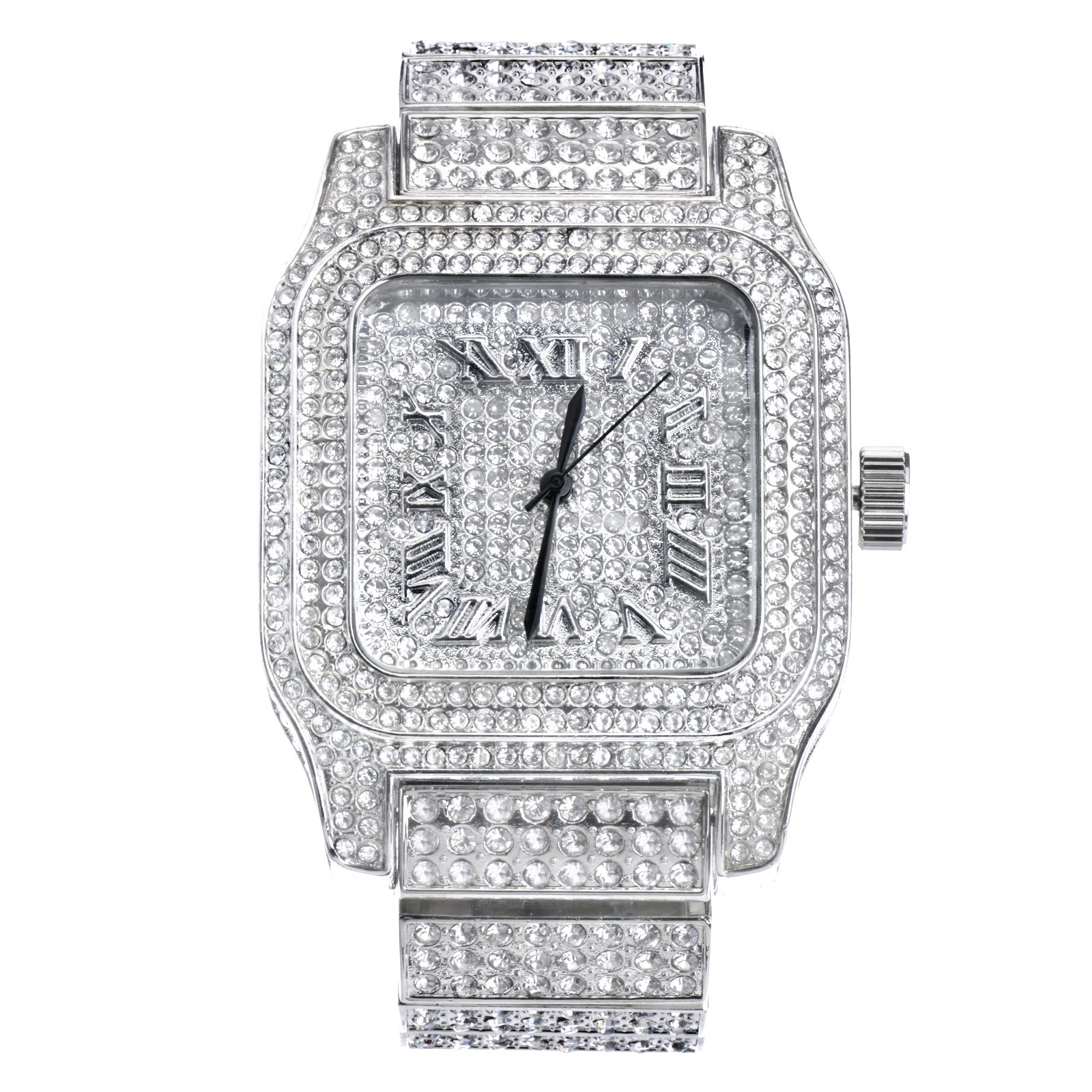 Mens Hip Hop Luxury Iced Out Techno Pave Watch Silver Tone Heavy Bezel Case Band Simulated Diamond WM 7967 S by Metaltree98 (Image #1)