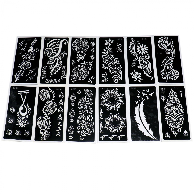 HUELE 12 Pcs Tattoo Stencil Template Henna Designs Self-Adhesive Reusable Art Painting Airbrush