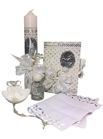Spanish Handmade Christening/Baptism Set for Girl, Boy, or Unisex Including: Candle