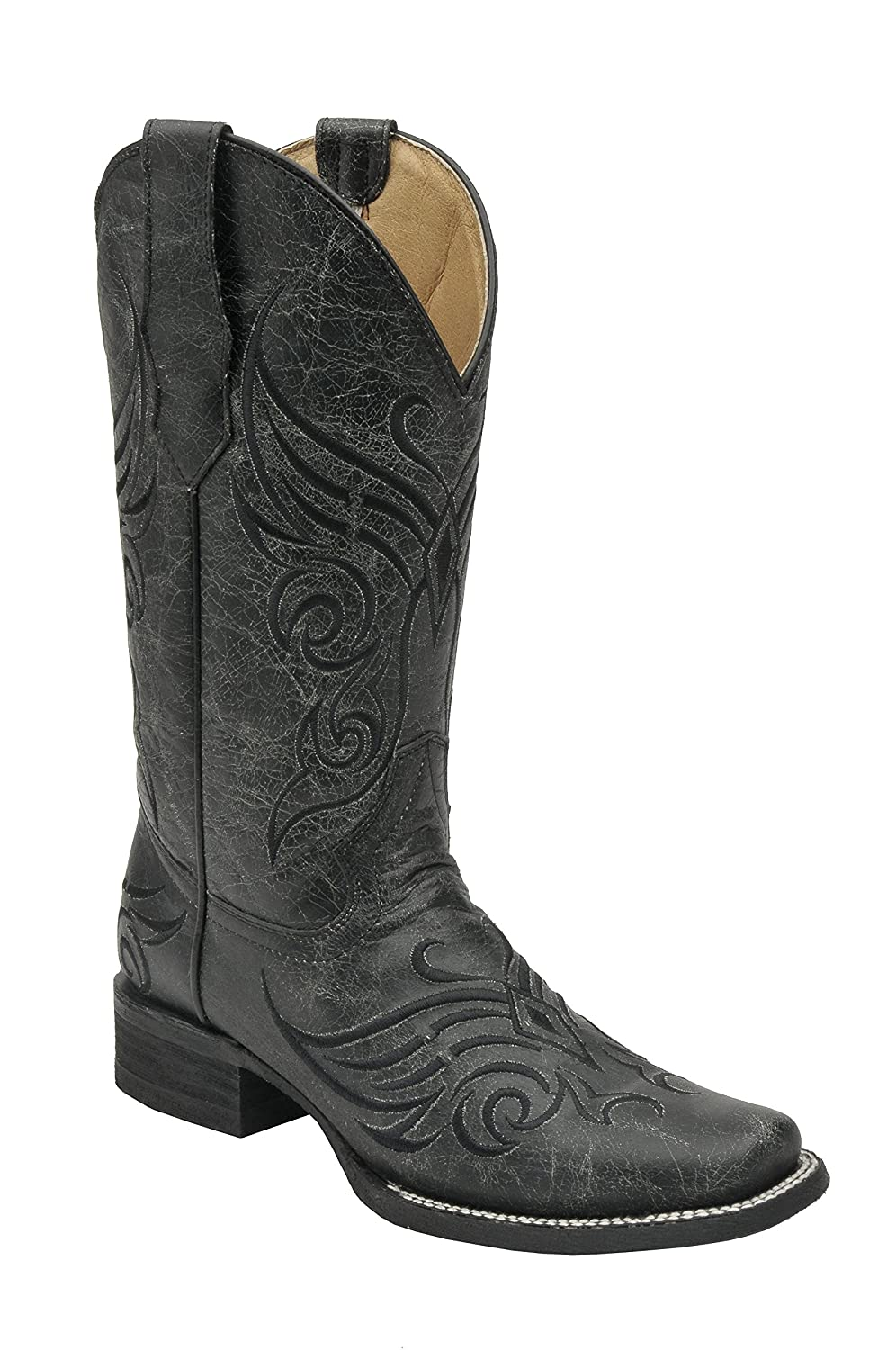 Corral Circle G Women's Embroidered Crackled Black Leather Cowgirl Boots B01F31YDDU 8 B(M) US|Black