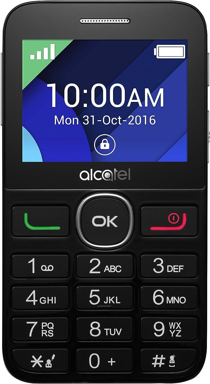 """Alcatel 20-08G Senior Phone con Base di Ricarica, 2.4"""", Radio FM, Nero/Grigio"""
