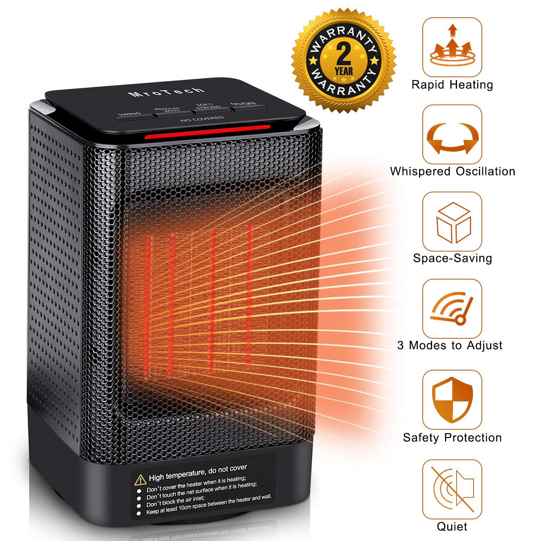 Calentador Eléctrico, MroTech Calefactor de Espacio Personal, Calentador aire caliente Portátil, Calentador de ventilador,Máquina de calentamiento rápido ...
