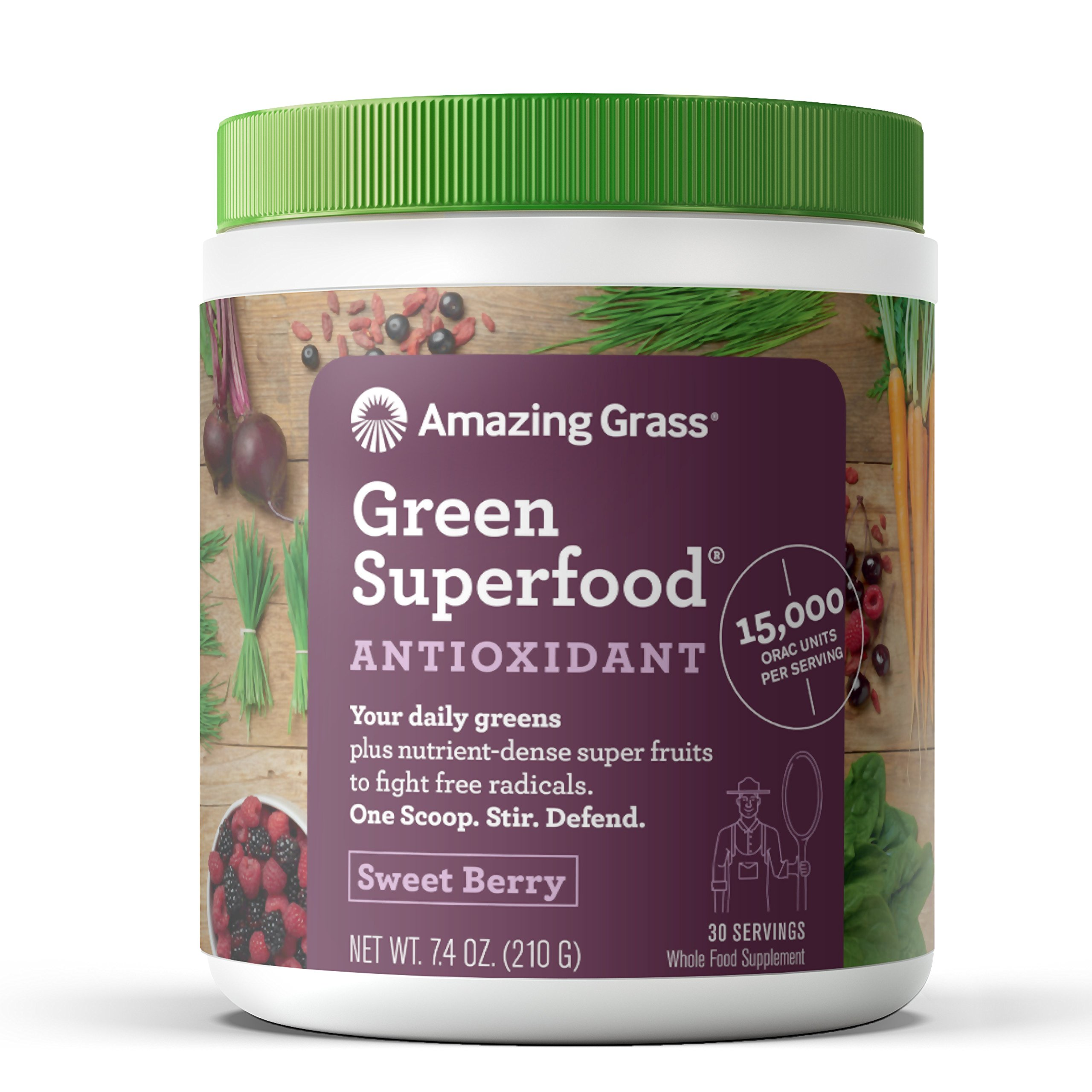 Amazing Grass Green Superfood Antioxidant: Organic Plant Based Antioxidant and Wheat Grass Powder for full body recovery, 8 servings of Fruits and Veggies per Scoop, Sweet Berry Flavor, 30 Servings by Amazing Grass
