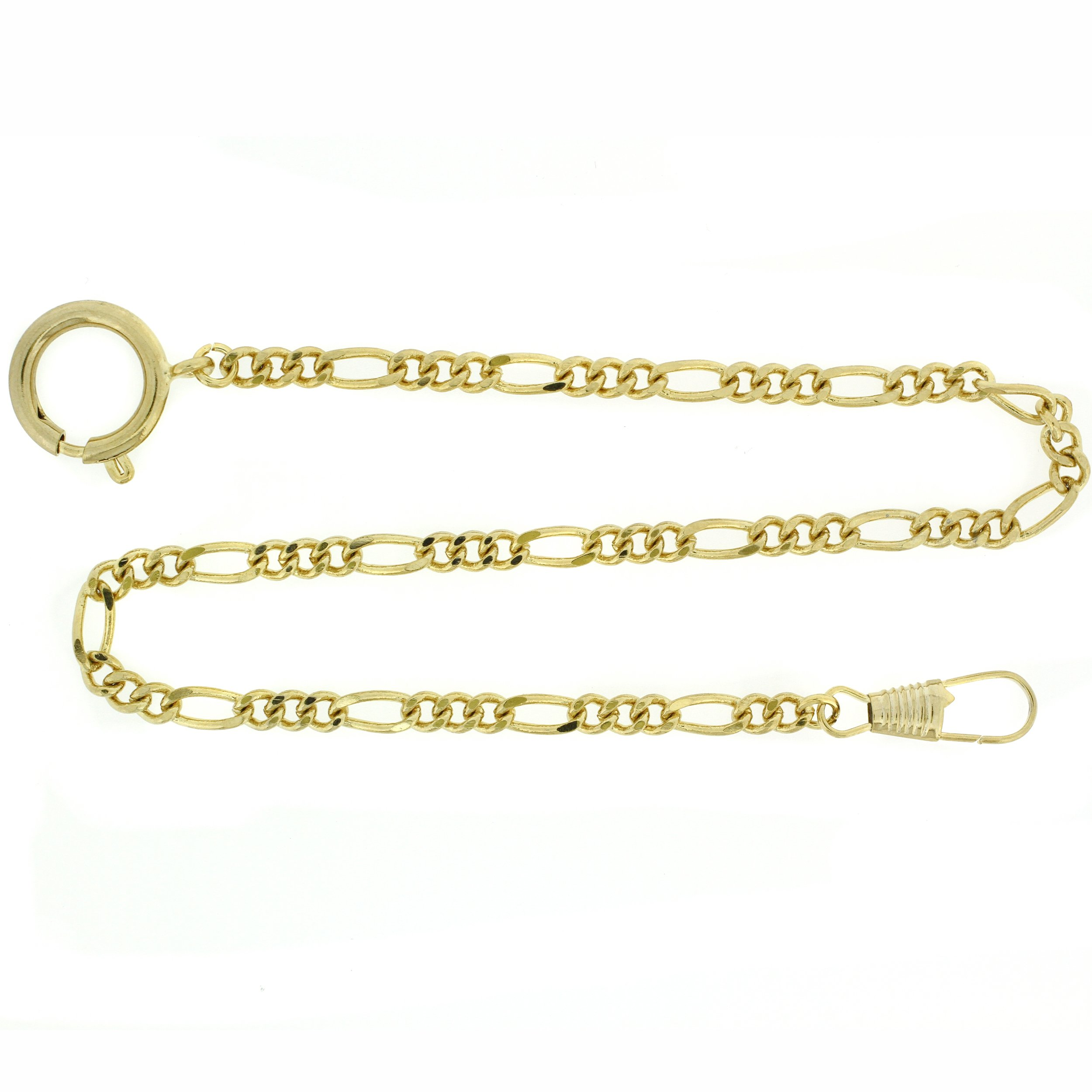 PC8-G Pocket Watch Chain Fob Figaro Link Design Gold-Tone 14''