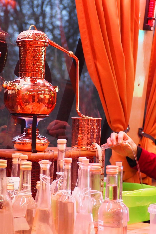 'CopperGarden®' Tischdestille Arabia 2 Liter ❁ mit Spiritusbrenner & Aromasieb ❁ neues Modell 2018 ❁ meldefrei in Deutschland, Österreich und Schweiz Österreich und Schweiz