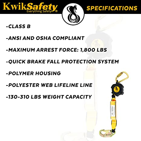 Roofing Construction Personal Fall Arrest Protection Safety Yoyo Renewed COBRA 30/' Poly Web Self Retracting Lifeline ANSI CLASS B SRL Locking Snap Hook Shock Absorber Charlotte, NC KwikSafety NO TANGLE