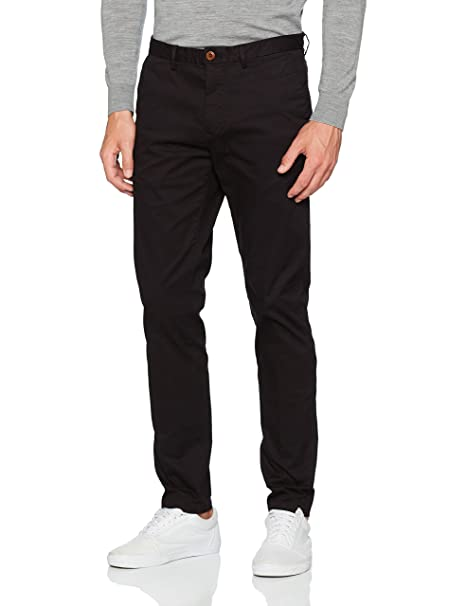 Classic Garment Dyed Chino Pant In Stretch Cotton Quality, Pantalones para Hombre, Negro (Black 0008), W30/L32 Scotch & Soda
