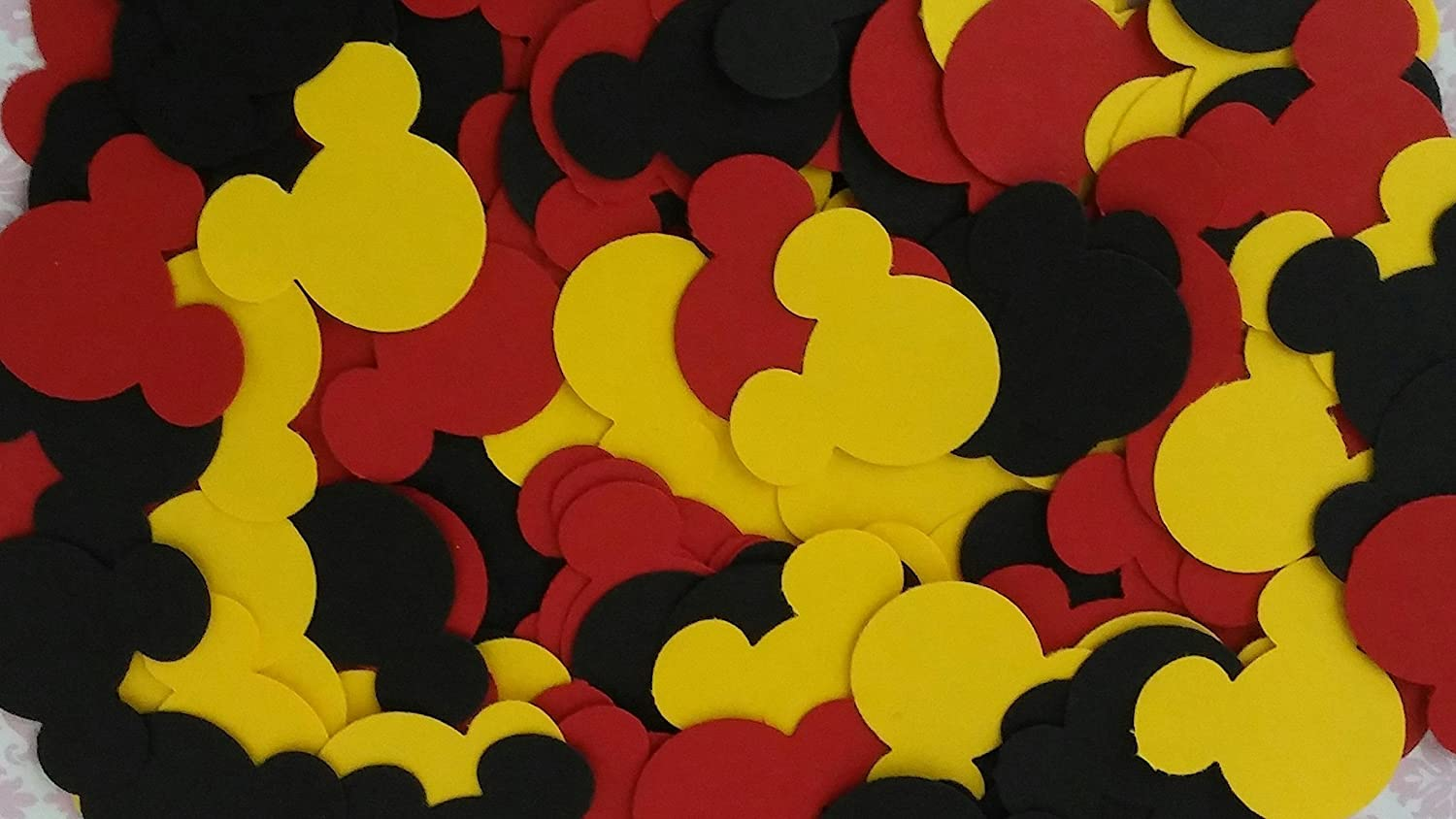 Mickey & Minnie Mouse Red Black & Yellow Party Confetti Die Cuts Table Decor 1 Wide - 100 Pieces