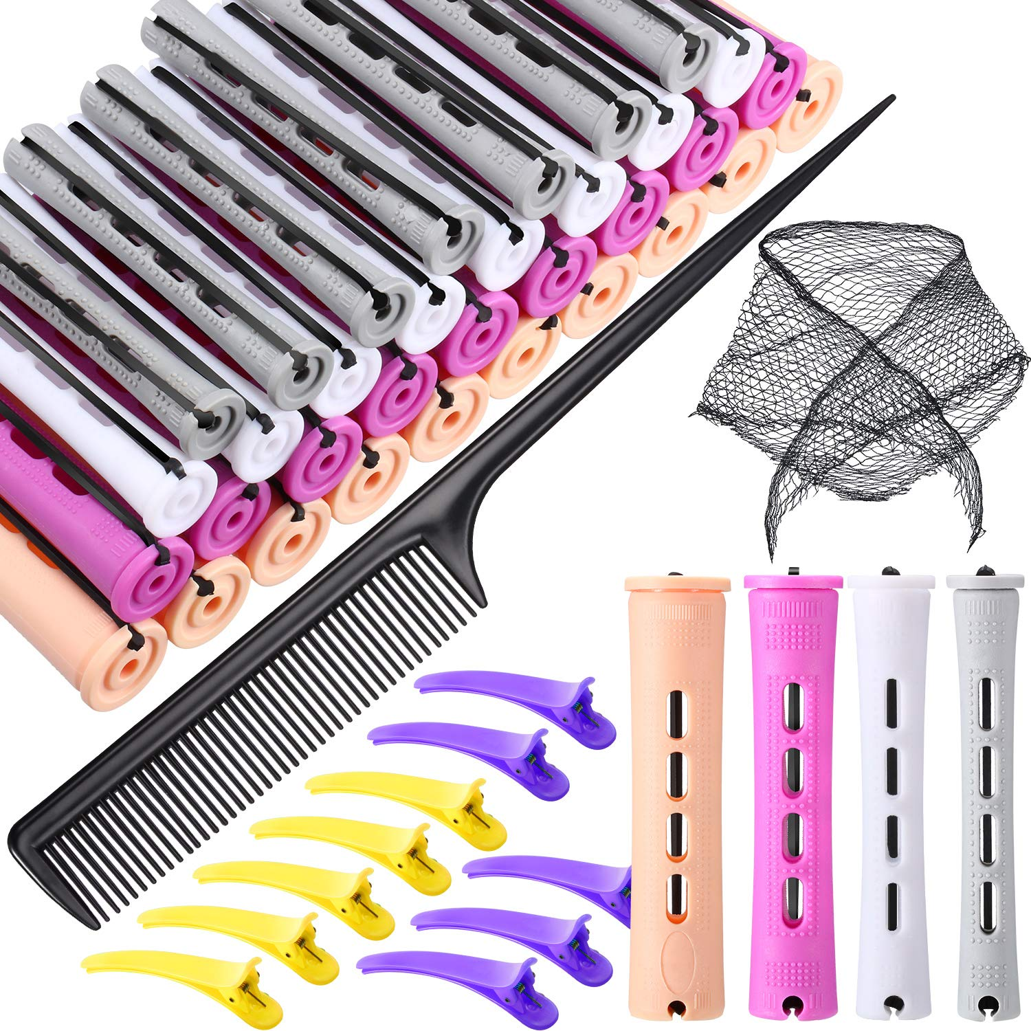 52 Pieces Hair Perm Rods Set, 40 Pieces Plastic Hair Rollers 4 Sizes Cold Wave Curlers Perming Rods with Cotton Triangle Hair Net Duckbill Hairpin Parting Comb for Hairdressing Styling