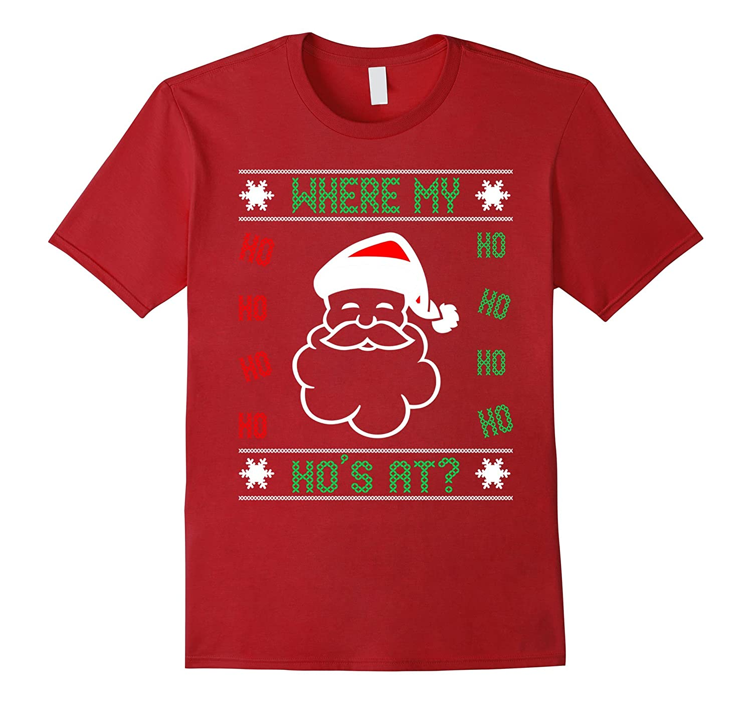 Funny Ugly Christmas Sweater.Where My Hos At Funny Ugly Christmas Sweater Santa T Shirt Anz